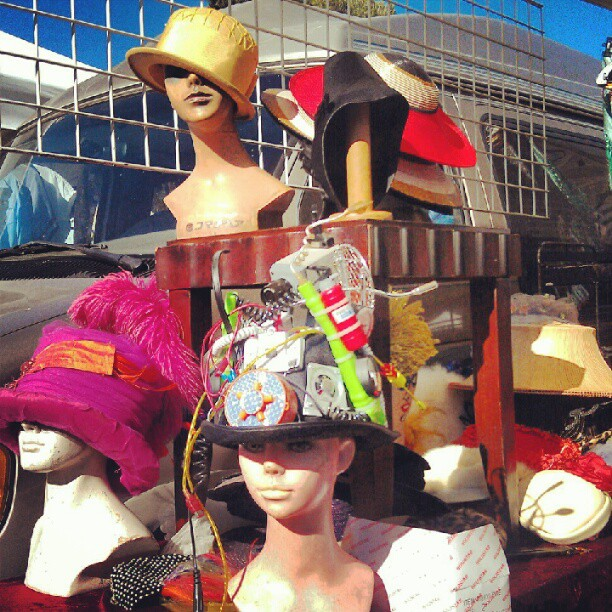 @ciscogeorge has the most unique hats in the world! #onlyinla #fleamarketfind