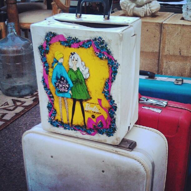 It's still here!! 1960's Barbie wardrobe trunk! #fleamarketfind #barbie