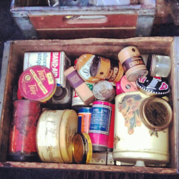 Box of Vintage tins and containers. Booth Y37! #vintage #fleamarket #melrosetradingpost