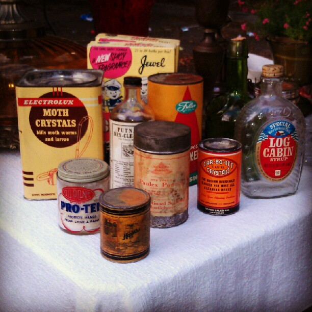 Antique household products.  Some still have the product in it! In Y34!  #melrosetradingpost #fleamarket #antique #vintage
