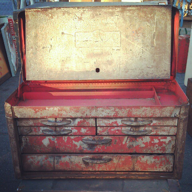 Storage of our dreams. #antique #toolbox #MelroseTradingPost #fleamarket #vintage #industrial