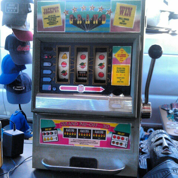 Feeling lucky? #antique #casino #slotmachine #la #fleamarket #MelroseTradingPost