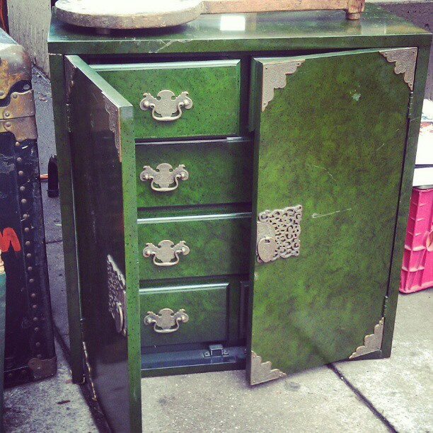 This beautiful little armoire can be found in the food court! #fleamarket #MelroseTradingPost #vintage #antique #green #