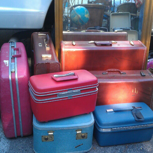Suitcases, train cases and globes! #MelroseTradingPost #fleamarket #vintage #travel