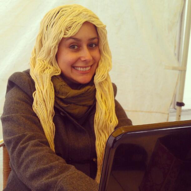 Vendor Manager Natalie is going blonde for the winter! Rapunzel! #Melrosetradingpost #spaghetti #blonde #hair