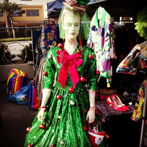 Ella's display is always outrageous! #Melrosetradingpost #soseasonal #fleamarket #fashion #Christmas