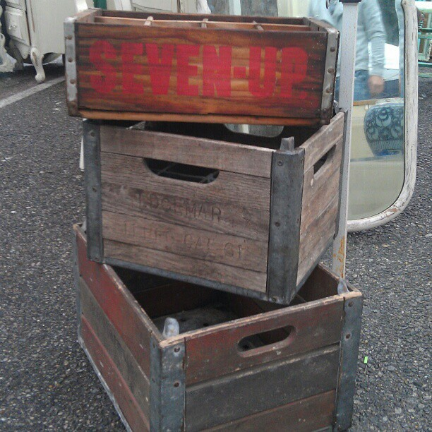 Rain Shmain! This flea market is rain or shine! #la #wood #crate #vintage #fleamarket