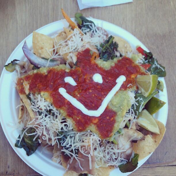 It's the triumphant return of #NachoFace !!! #Melrosetradingpost #fleamarket #food #veggie #Nachos