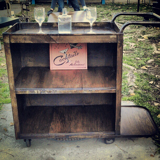 Library Cart turned into a Bar Cart. Love it! G3 #MelroseTradingPost #fleamarket #industrial #cocktail #bar #refurbished #reuse