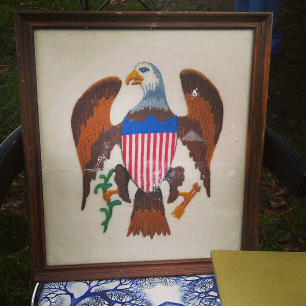 USA... USAaaaa! #Melrosetradingpost #fleamarket #patriot #needlepoint #Americana