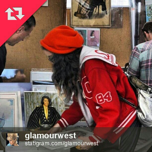 This next shot from @glamourwest shows off Vaughn's booth of vintage prints and some local style. #Melrosetradingpost #la #fleamarket #lastyle #Elvis #photo #hunt