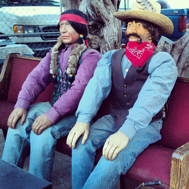 Good Morning LA! In G3 we have these original handmade characters from Knotty's Berry Farm in Buena Park. #antique #vintage #fleamarket #Melrosetradingpost #cowboy #Indian