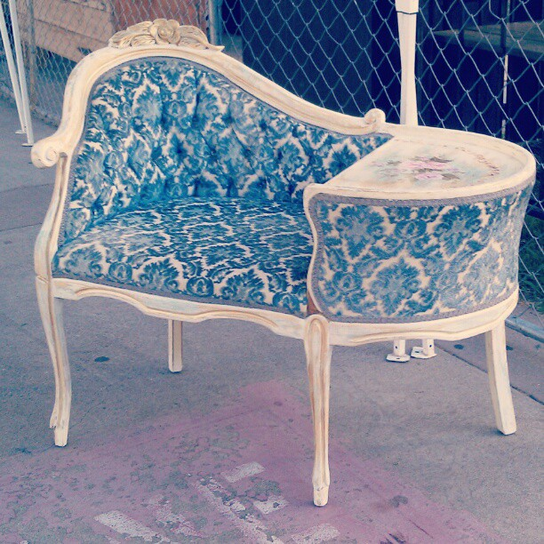 High Quality 1920u0027s Phone Seat And Table In G4...original Fabric, Gently Restored.