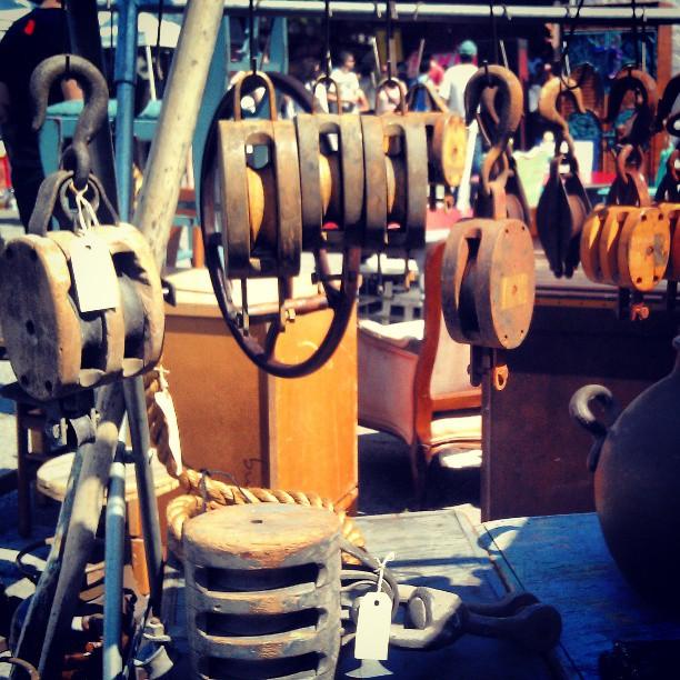 Neil always has the best industrial farm pulleys and goodies! #Melrosetradingpost #industrial #fleamarket