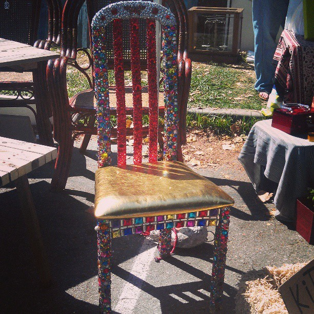 This hand bedazzled chair is out of this world!!! #Melrosetradingpost #fleamarket #handmade #lastyle #craft #art #sparkle #jewel #bedazzled #chair #furniture