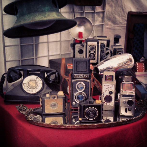 Cameras, Retro Telephones and Lamps... What more could you ask for? #Melrosetradingpost #fleamarket #camera #phone #retro #vintage #photography