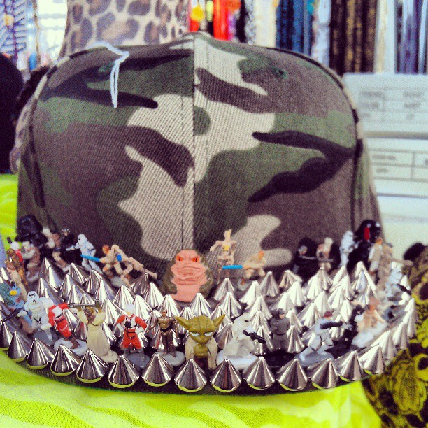 This handmade Star Wars hat in G5 is out of control!! #Melrosetradingpost #starwars #hat #Fairfax #Melrose #fleamarket #spike #army