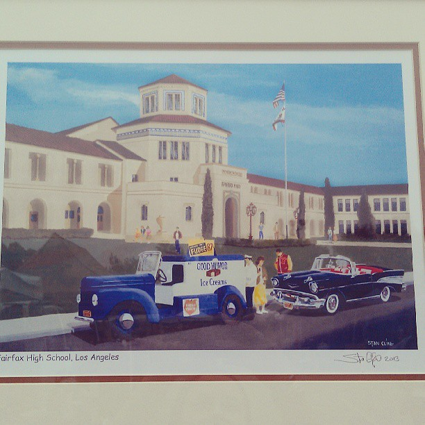Artist and FHS alumn Stan Cline is selling his paintings today, including this one of Fairfax High School back in the day!