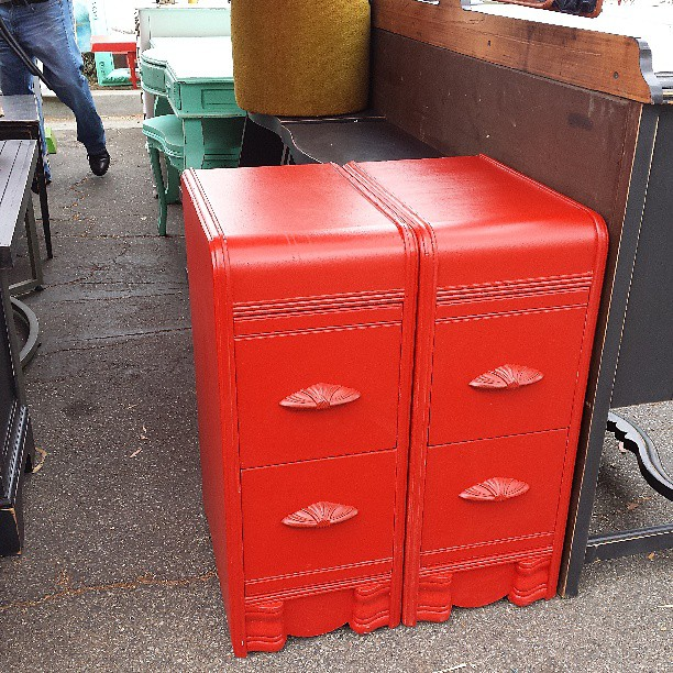 We love these sweet red night stands!!