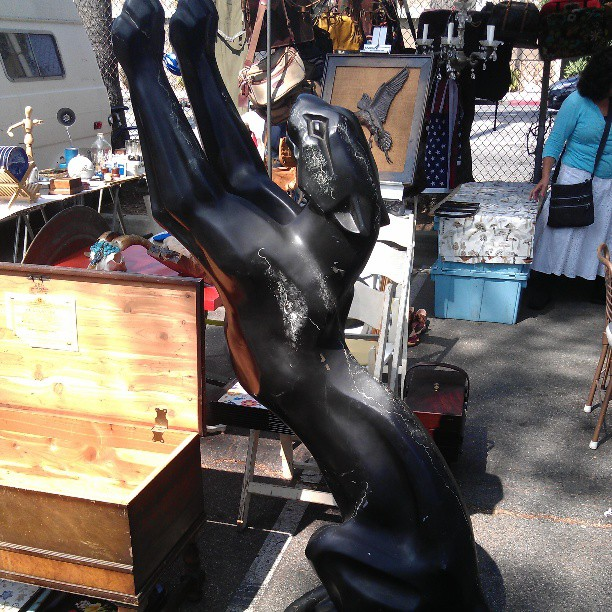 Here kitty kitty....very large black metal panther or jaguar floor sculpture in Y41 #metalworks #melrosetradingpost #fleamarket #Fairfax