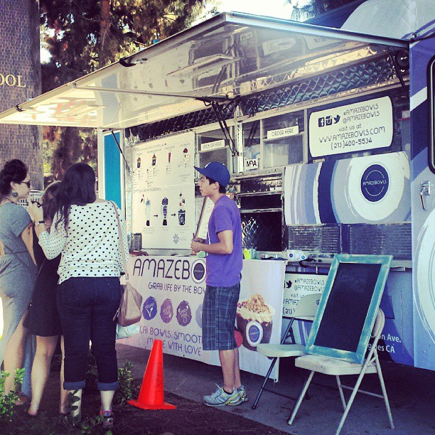 The @amazebowls truck is by the #Melrose entrance! They have vegan, soy free, dairy free and gluten free smoothies and treats!