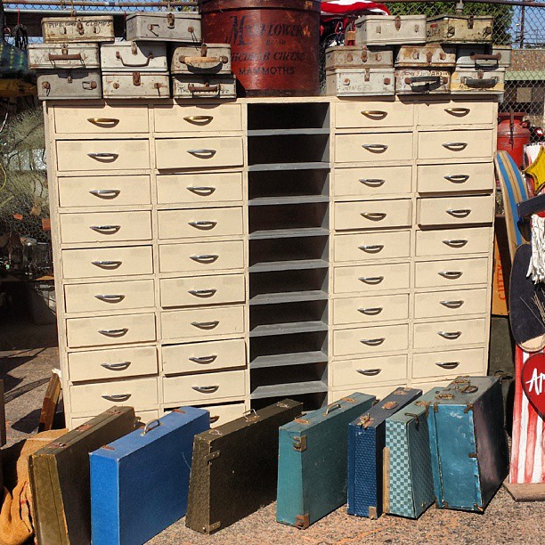 Good morning LA!! We love these antique storage solutions. Think of the storage possibilities!
