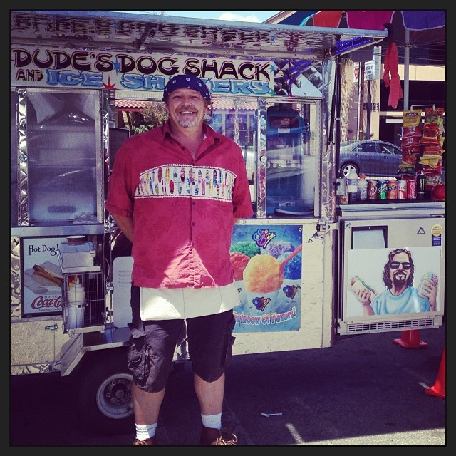 The Dude is here today!Shaved Ice, Hot Dogs and more from Dude's Dog Shack and Ice Shavers - all super YUM!