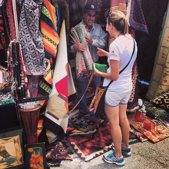Regram from @kellynp of @gabbyrisner buying a rug from Mr. Warasta at #MTPfairfax! Great photo!