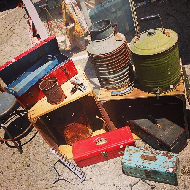 Cool #vintage #industrial containers at @plaidkatdesigns #antiques #fleamarket #collectibles #recycled