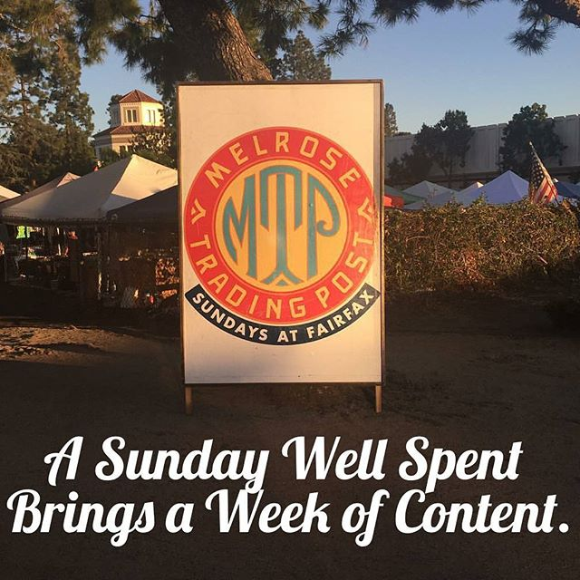 """""""A Sunday Well Spent Brings a Week of Content."""" Feel good about supporting the local community, see local art, listen to local music, dig for treasures and hang out with LA's cutest puppies. Get your fill of #SundayFunday goodness at #MTPfairfax. Only in LA at Melrose & Fairfax."""