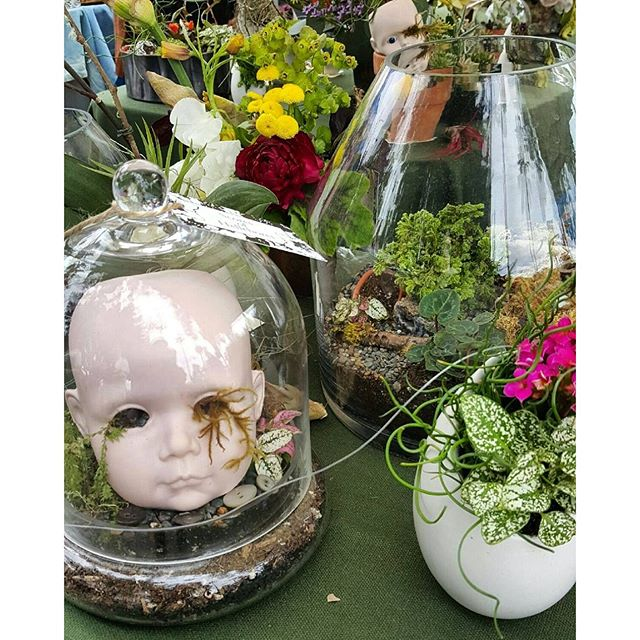 The vendors in Y19 are making beautiful plant arrangements with found items like these doll heads! #MTPfairfax #ShopLocal