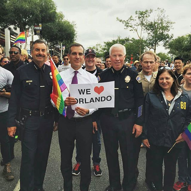 """Our hearts go out to the victims and survivors in Orlando, an attack not just on our LGBT brothers and sisters, but on all of us.  As we mourn the dead and tend to the injured and bereaved, we redouble our commitment to the essence of America--diversity and inclusion make our nation strong.""- LA's Mayor GarcettiThis weekend has truly shaken us up, but we are proud to live in a city that doesn't let violence bully us.  We stand tall for all of the allies who are no longer with us and those who do not feel safe being their true selves where they live. #LAPride #LosAngeles #California #ThePrideMustGoOn"