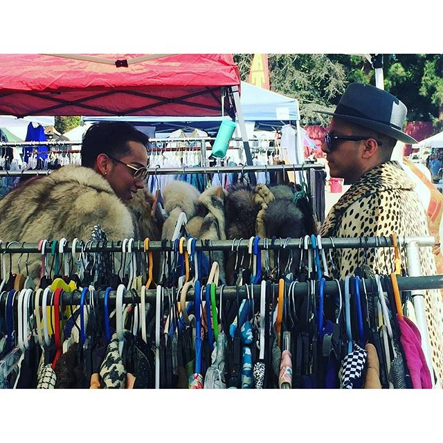 These brave souls wearing furs in the LA heat! Repost from @ciscogeorge -  The view from my office:Boys and furs! In 90 degree weather at #MTPfairfax.#PeopleOfMTP #ShopLocal #melrosetradingpost #melrose #fairfax #fleamarket #losangeles #california #sundayfunday #laheat #vintagestyle #vintagefur