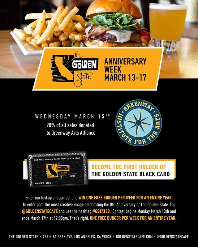 We are thrilled to announce that our favorite local burger spot @goldenstatecafe is celebrating their anniversary this week!  This Wednesday, March 15th, 20% of their sales will go to @greenwayartsed!Starting today, you can enter their instagram contest to win a free burger a week for a year! See you Wednesday! #GreenwayArts #goldenstatecafe #bestburgerinla #loveyourneighbor #melrosetradingpost #greenwaycourt @greenwaycourttheatre#Fairfax #fairfaxhs #GreenwayTwenty #greenwaycourttheatre #mtpfairfax #losangeles #california #burger #thegoldenstate