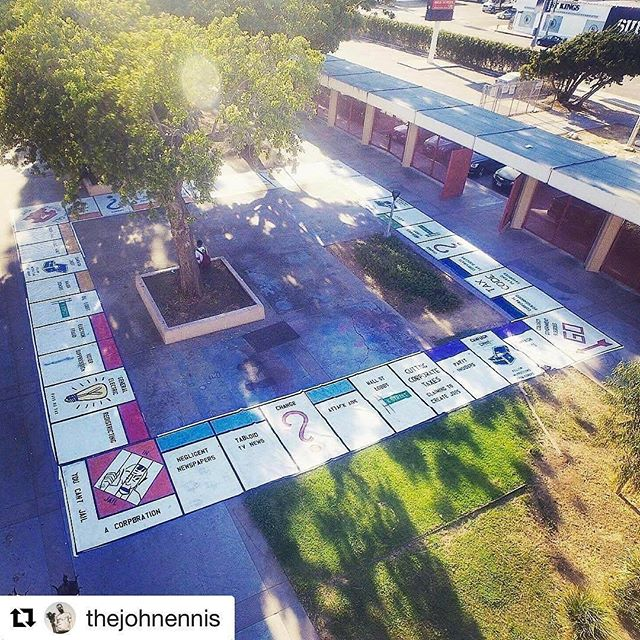 Throwback Thursday #tbt to when local artist @teachr1 created a #MayDay Monopoly Board on the Fairfax High School campus! This aerial view was taken in the area of campus that we use for the Courtyard on Sundays. ・・・Aerial view of #PAY2PLAY #Monopoly board for #MayDay, on display at @teachr1's solo art show last year #Repost from @teachr1#teachr1 #teachpeace #Melrosetradingpost #Mtpfairfax #melrose #fairfax #fleamarket #losangeles #california #Sundayfunday #shoplocalla #sundayinla #shoplocal #losangelesart #publicart #streetartla