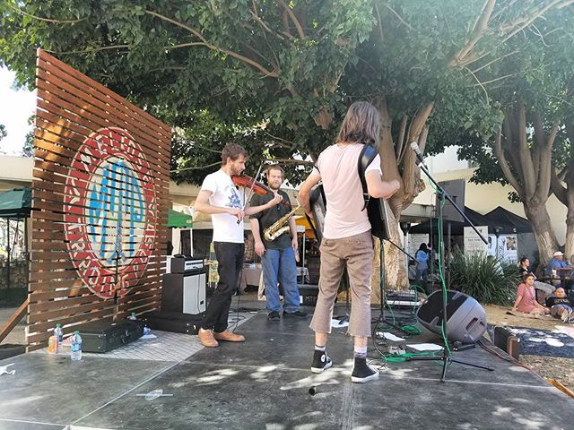 DUK is on stage now rocking a violin, saxophone and accordion!@duktheband#Musicofmtp #livemusic #losangeles #california #sundayinla #shoplocal #Melrosetradingpost #Mtpfairfax #melrose #fairfax #fleamarket #duk