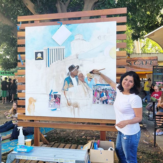 Shelley the artist was back at it again today painting the MTP/Greenway Arts mural!  Catch her every Sunday by the Main Stage painting her masterpieces! Follow her during the week at @shelleytheartist. Thank you for spending your #Sundayfunday with us.  See you next week!!  #melrosetradingpost #greenwaycollaborates #Greenwayarts