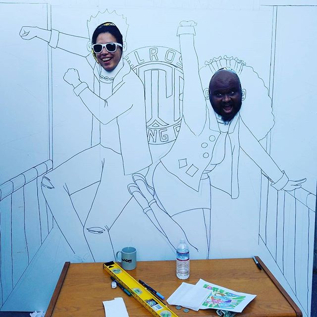 Ash and Glorili are testing out one of the homemade photo stand-in's for the 20th anniversary. Glorili designed it and is painting it with the Greenway staff.  You'll see it in the market on Sunday, October 8th! #melrosetradingpost #mtpfairfax #Melrose #fairfax #fleamarket #losangeles #california #Sundayfunday #photoop