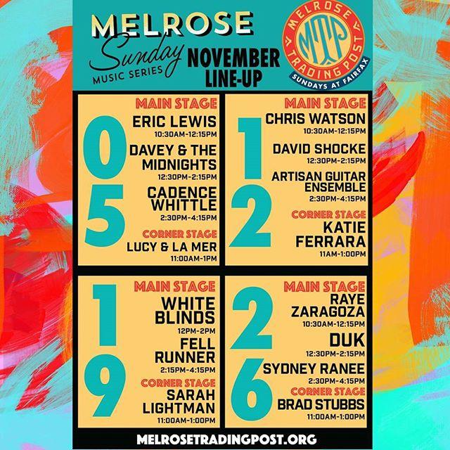 November Line-Up for Sundays at Fairfax :) Meet your favorite artists at the main stage, snap a selfie and tag #melrosetradingpost and @melrosetradingpost to give us a sneak peak of your fun day at Melrose Trading Post ^-^ #fleamarket #Musicofmtp #losangeles #california #musicMusicians:@exxtranaut@lucyandlamer @tellemwatson @DavidSchocke@katieferraramusic@fellrunnermusic@sarahlightmansings@rayezmusic@chrisayer@sydney.ranee@TheWhiteBlinds@theartisanguitarensemble@daveyandthemidnights