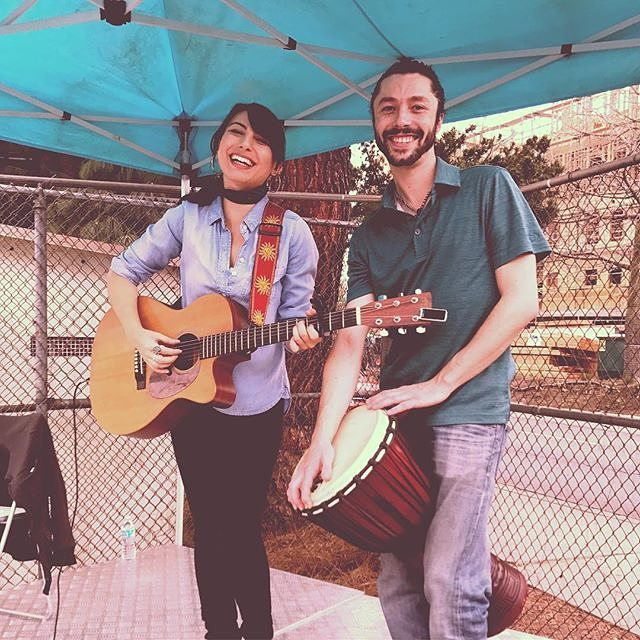 Sunday Memories from Last Week: Katie Ferrara- I had a great time playing with @likeuntoitselfisdrawn at @melrosetradingpost today! Channel 7 news was here.. I think we might be on TV! Check out periscope to hear our jams on the corner stage!.... #singer #songwriter #jamming #djembe #busking #market #streetmusic #vintage #fleamarket #westhollywood #fairfax #melrose #clothes #trendy #folk #pop #pokebowl #cornerstage #fun #smile #friends #musicianlife #gigs #diy : @katieferraramusic
