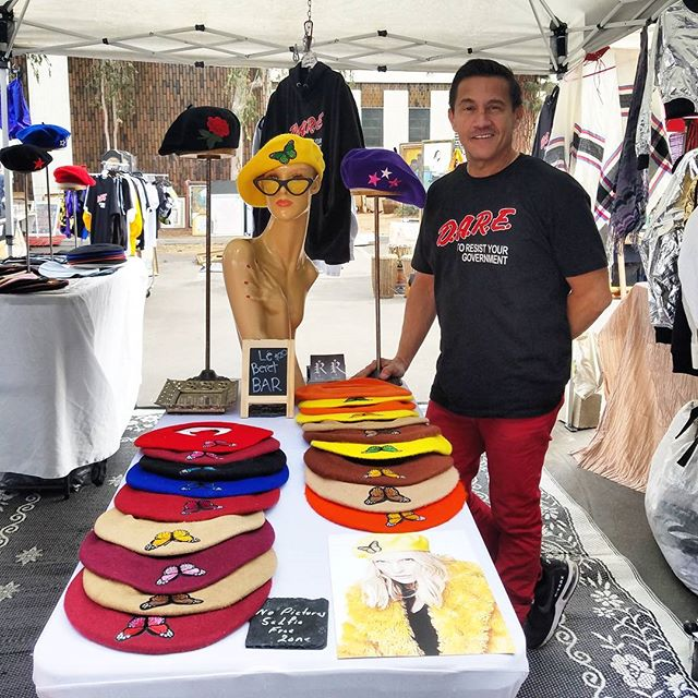 YES!! We are open 12/24 AND 12/31. Get last minute gifts or a special gift for yourself while you #shoplocalla at the #Melrosetradingpost!Here we have Le Beret Bar in the @rojasclothing booth with forward thinking Freddie! His designs are always ahead of the curve. See you Sunday!...#rojasclothing #Mtpfairfax #melrose #fairfax #fleamarket #losangeles #california #communitymarket #Greenwayarts #PeopleofMTP #losangelesdesigner #fashiondesign #beret