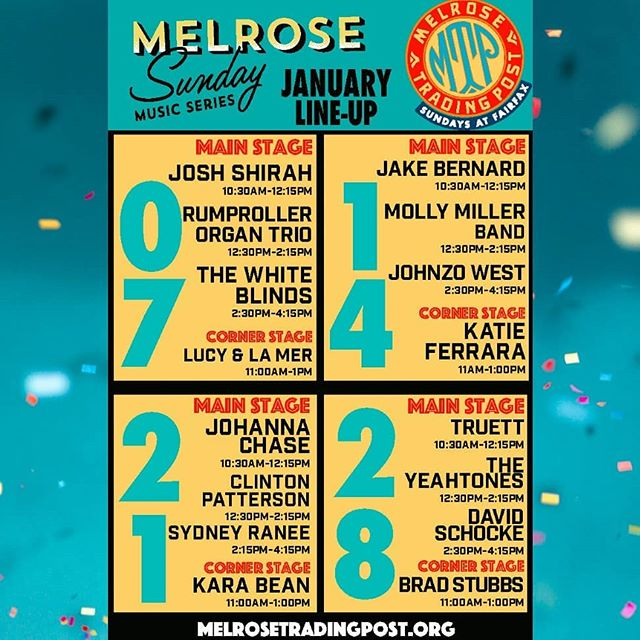 January's Melrose Sunday Music Series Line-up has so many fantastic local and touring artists.Live music every Sunday!...#Musicofmtp #livemusic #losangeles #california #melrosetradingpost