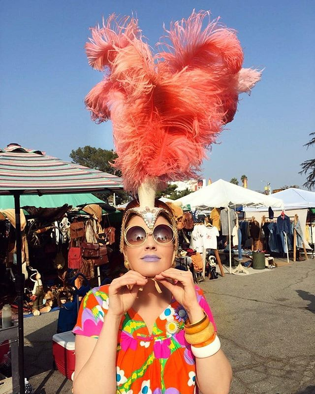 WHO'S READY FOR #SUNDAYFUNDAY?!?!...Repost from @haileyeverafterBringing you some sunshine in a week full of gloomy weather! ️Sporting one of my favorite pieces, an original 1960's showgirl headpiece found at @melrosetradingpost! #melrose #melrosetradingpost #westhollywood #losangeles #california #fairfax #vintage #1960's #mumu #vintageootd