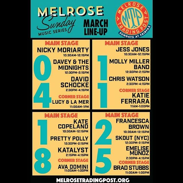 The March Melrose Music Series line-up is full of awesome local musicians on both stages!See you tomorrow for our favorite day of the week, #SUNDAYFUNDAY. ...#Melrosetradingpost #Musicofmtp #livemusic #losangeles #melrose #fairfax #fleamarket #onlyinla #Greenwayarts #sundayinla #shoplocalla