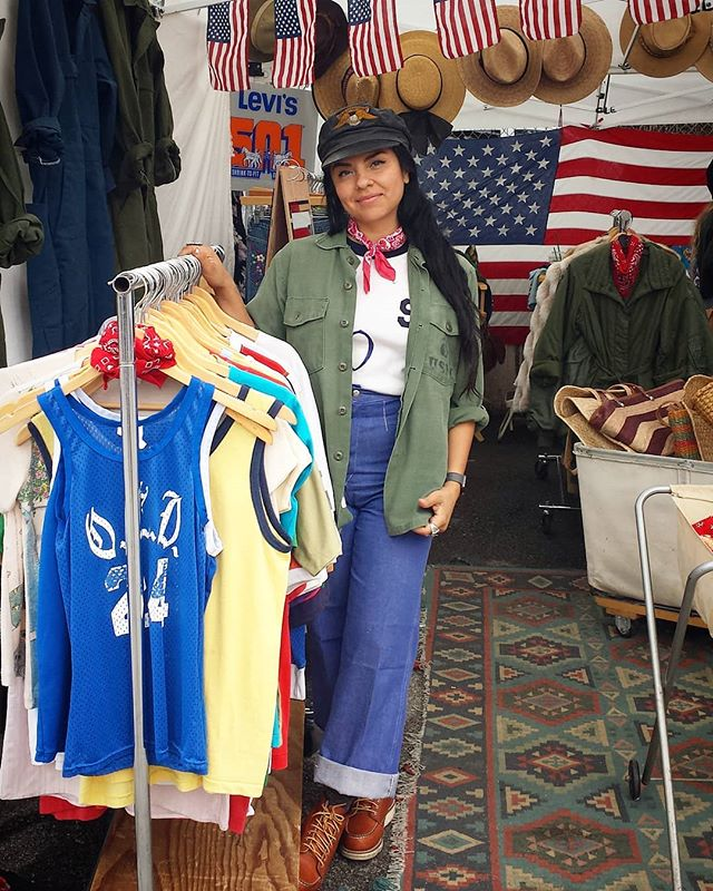 We're very excited to have a new permanent vendor in B4 every sunday. Check out Dani in her beautiful booth! @bluebell_rugged #vintage #vintage clothing #melrosetradingpost #mtpfairfax #Melrose #fairfax #fleamarket #losangeles #california #Sundayfunday #fleamarket
