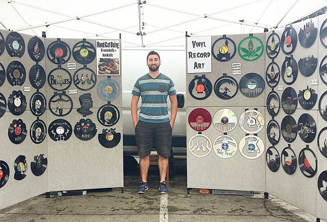 Alex from Y42 has some amazing hand cut records. Look for his booth at the Fairfax entrance!! #melrosetradingpost #losangeles #fleamarket #sundayfunday #california #ShopLocalLA #melrose #fairfax #ShopLocal #smallbusinesssunday #supportsmallbusiness #sundayvibes