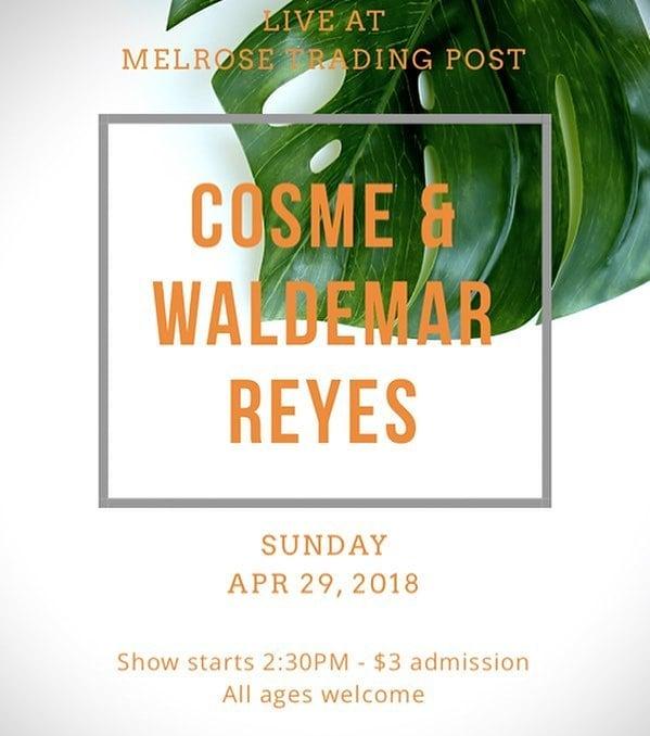 Tomorrow ️️️!!!Post from: @cosmemusicPlaying 2 sets of original tunes with @waldemarreyesmusic and @marrero_oxlab at @melrosetradingpost from 2:30PM - 4:30PM Come through! ...#cosme #waldemarreyes #melrose #melrosetradingpost #latinalternative #livemusic #losangeles #melrose #fairfax #fleamarket #losangeles #california #communitymarket #Greenwayarts #SUNDAYFUNDAY #shoplocalla #sundayinla #shoplocal