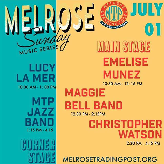 We're so excited for July.... and of course our Melrose Sunday Music Line-Up!!! Here's the lineup for the first week of July, come stop by this Sunday and hear some tunes!