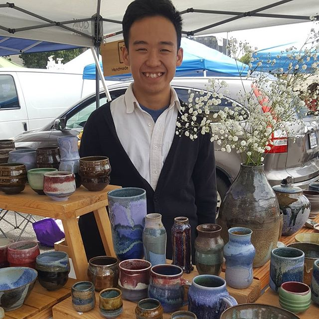 Our vendor friend Yau @yauchung_tong is selling for the last time at market for a couple months as he is attending his first gallery show in Shanghai. Good luck and please come back as we need your beautiful handmade #workofart ceramics at the market! @onecupstudio Bon Voyage Yao!#melrosetradingpost #melrose #fairfax #fleamarket #losangeles #sundayinla #sundayfunday #peopleofmtp #handmadeceramics #artceramics #ceramics