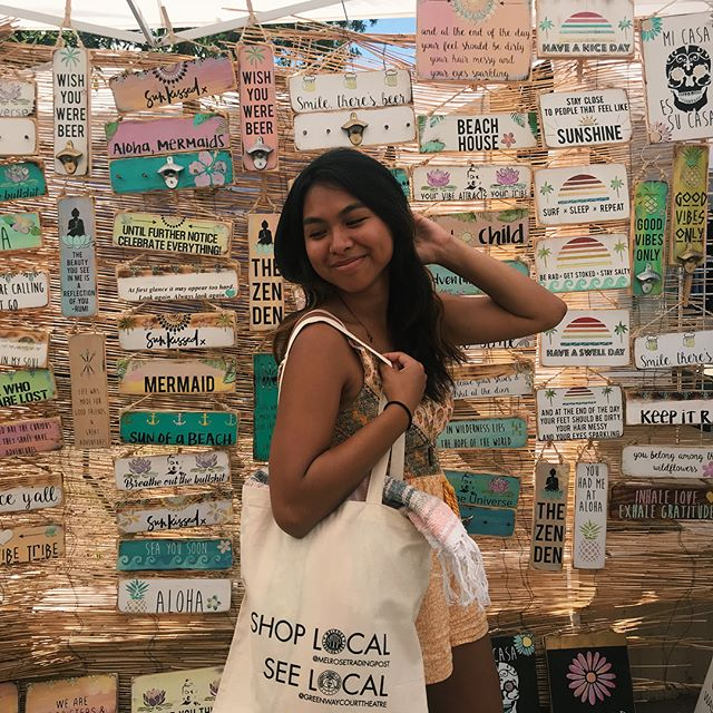 Looking for some stylish beach ware? Our Shop Local totes go great with everything in the @seagypsycalifornia booth Check us both out by the food court!!..Also hi!! I'm Leilani and I'm the MTP intern til the end of summer, hope to see you all at the market!! ..#melrosetradingpost #sundayfunday #fleamarket #melrose #fairfax #vendorsofMTP #greenway